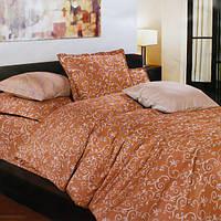 """Комплект постельного белья """"Завитки"""" Белорусские бязи полуторный Светло-коричневый"""