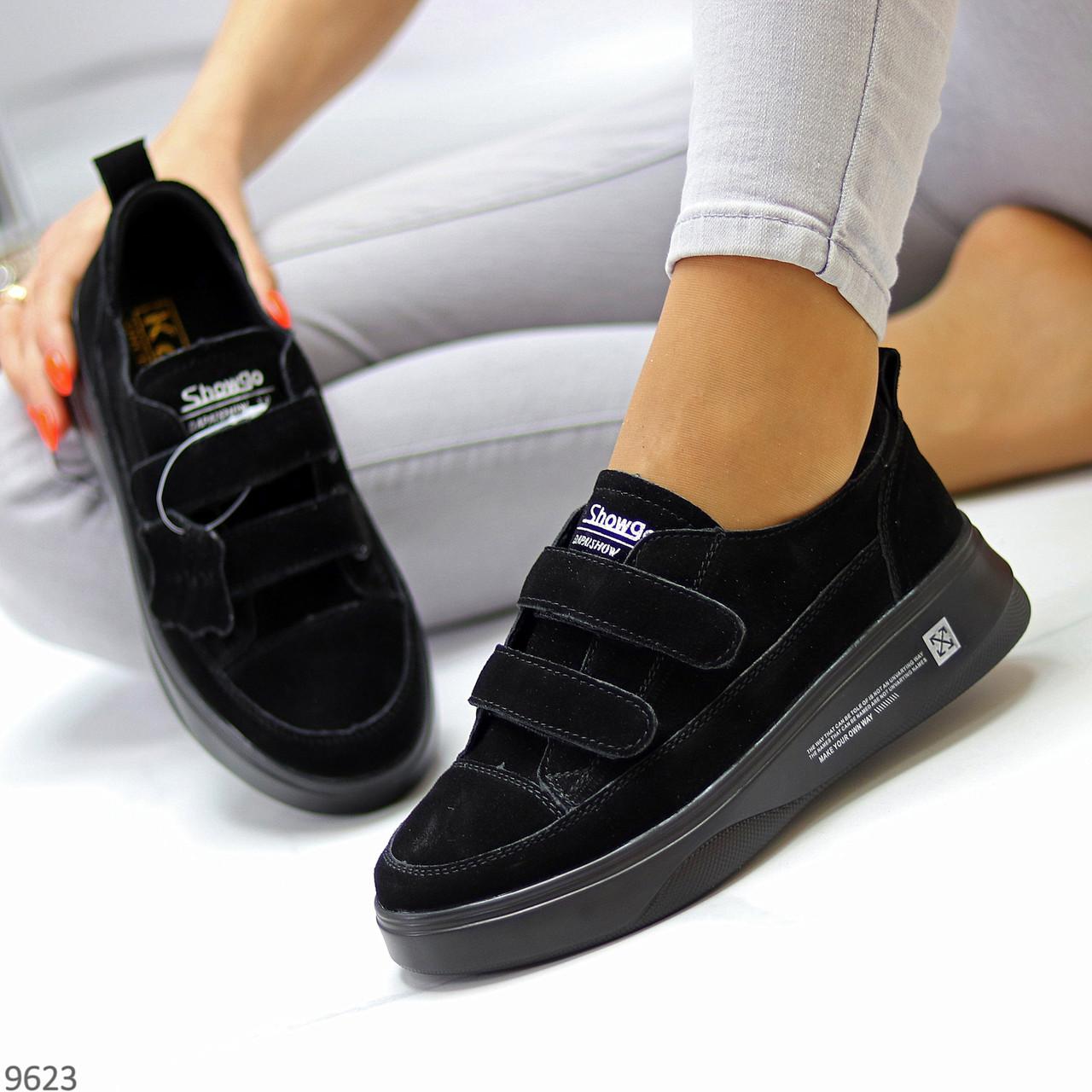 Трендовые черные женские кроссовки кеды криперы на липучках натуральная замша