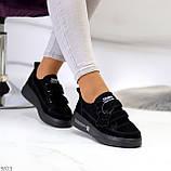 Трендовые черные женские кроссовки кеды криперы на липучках натуральная замша, фото 2