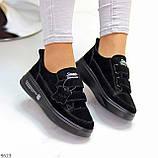 Трендовые черные женские кроссовки кеды криперы на липучках натуральная замша, фото 4