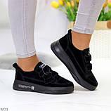 Трендовые черные женские кроссовки кеды криперы на липучках натуральная замша, фото 5