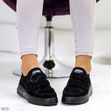 Трендовые черные женские кроссовки кеды криперы на липучках натуральная замша, фото 6