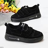Трендовые черные женские кроссовки кеды криперы на липучках натуральная замша, фото 7