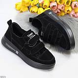 Трендовые черные женские кроссовки кеды криперы на липучках натуральная замша, фото 8