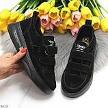 Трендовые черные женские кроссовки кеды криперы на липучках натуральная замша, фото 9