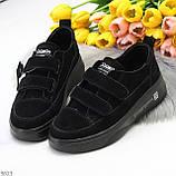 Трендовые черные женские кроссовки кеды криперы на липучках натуральная замша, фото 10
