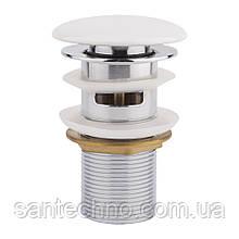 Донний клапан для раковини Qtap F008-1 WHI з переливом