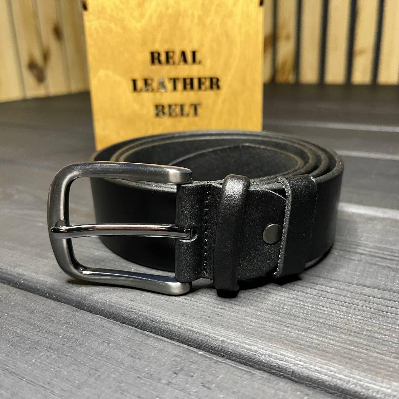 Мужской ремень кожаный в коробочке