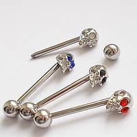 """Для пирсинга языка """"Череп"""". Медицинская сталь, кристаллы (3 цвета)."""