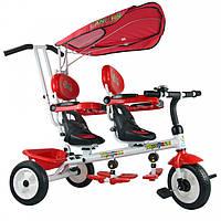 """Трехколесный велосипед для двойни """"Супер Трёшка"""" T021D, Двухместный детский велосипед для двойняшек с ручкой"""