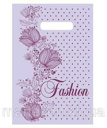 """Пакет с прорезной ручкой (20*30)""""Fashion цветы""""Леоми (100 шт), фото 2"""