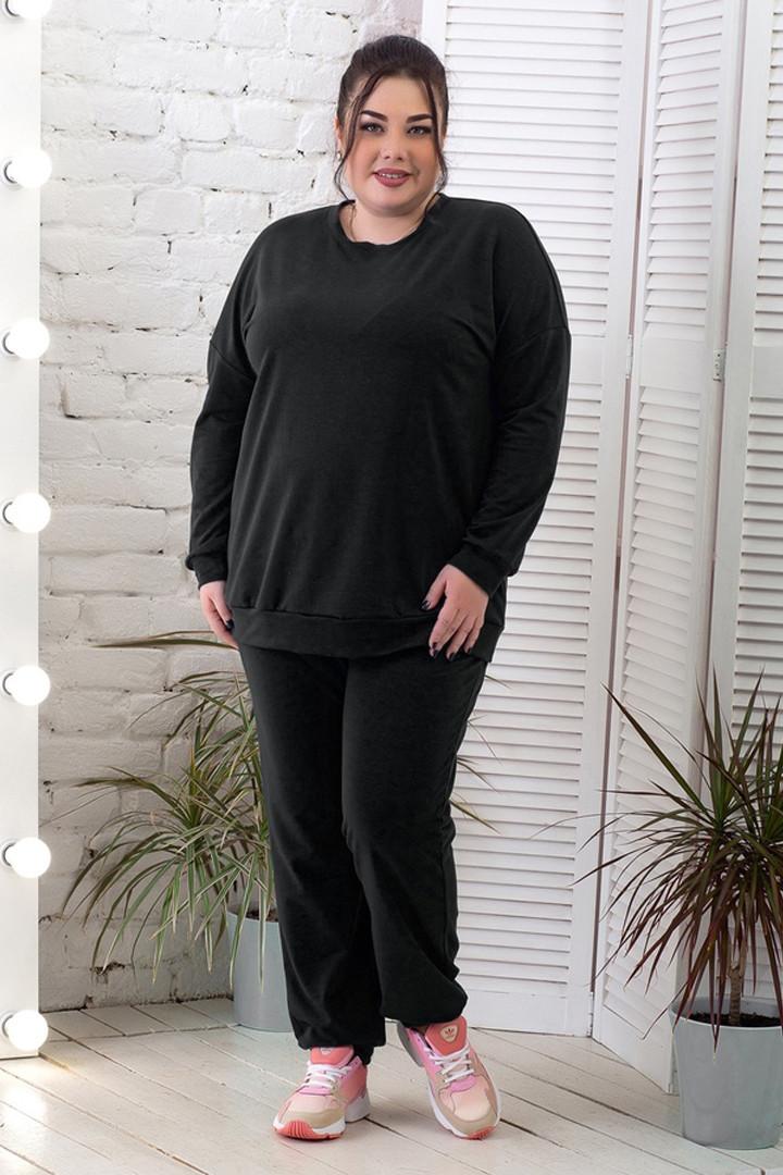 Спортивный костюм женский для полных черный со свитшотом