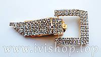 Шубный крючок-застежка 8,0 см, под золото, квадратная, со стразами
