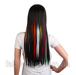 Цветные искусственные пряди волос Канекалон на заколках