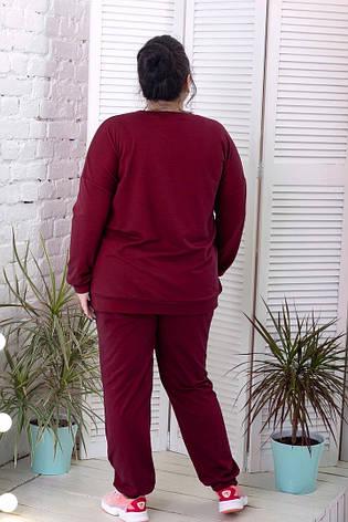 Спорт костюм батал со свитшотом бордовый, фото 2