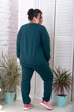 Спортивний костюм зі світшотом для повних жінок зелений, фото 2