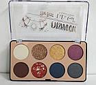 Палетка теней для век 8 оттенков DoDo Girl The Best Eyeshadow D3173 № 2 Блёстки золотые Синие Серые Сливовые, фото 2