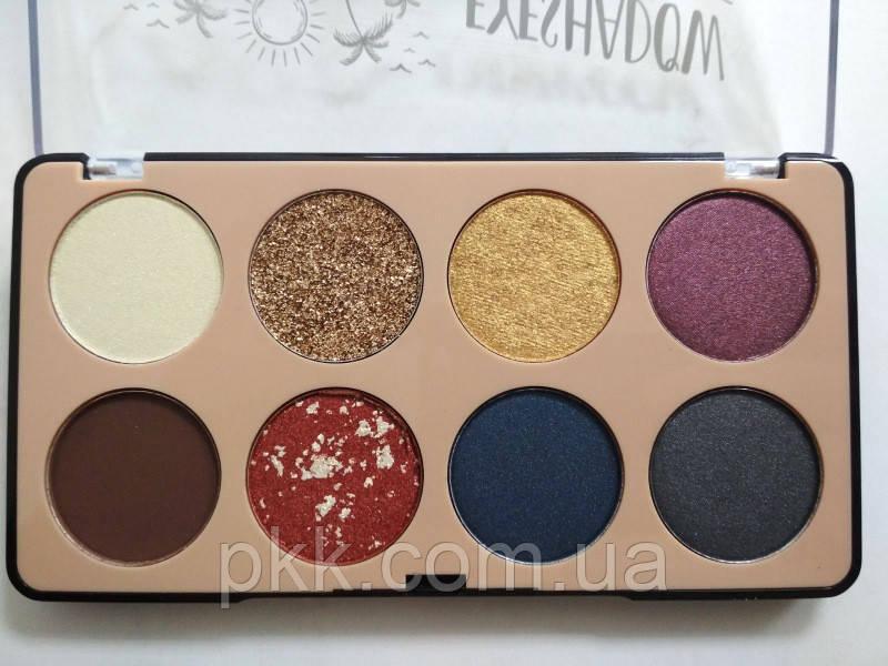 Палетка теней для век 8 оттенков DoDo Girl The Best Eyeshadow D3173 № 2 Блёстки золотые Синие Серые Сливовые
