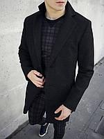 Пальто мужское кашемировое Ram черное весеннее осеннее | Мужское пальто двубортное ЛЮКС качества