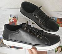 Mante X! Находка! Универсальные женские кожаные туфли кеды без шнурков черные