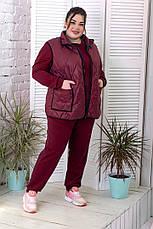 Безрукавка для полных женщин стеганная бордовая, фото 3