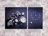 Модульная картина с часами бриллианты 100х60 2 модуля