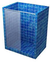 Перегородка в душову прозора 2000*660 мм, труба прямокутна крізь скло