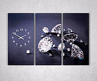 Фотокартина модульная с часами Бриллианты 90х60 3 модуля