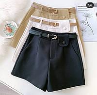 Жіночі модні шорти з поясом в комплекті, фото 1
