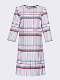 Пудрове плаття-міні в клітку зі складками по низу, фото 5
