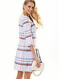 Пудрове плаття-міні в клітку зі складками по низу, фото 3