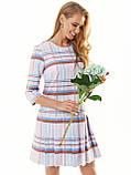 Пудрове плаття-міні в клітку зі складками по низу, фото 2