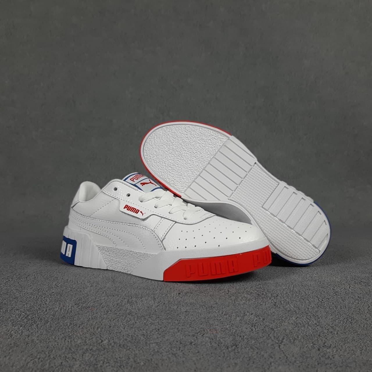 Женские весенние кроссовки Puma cali (белый с красным и синим) O20154 спортивные легкие кеды