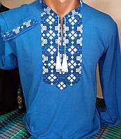 Синяя мужская футболка вышитая  215 САК