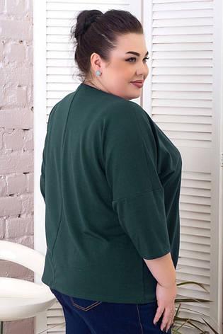 Модна жіноча батальна кофточка вільна зелена, фото 2