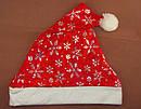 Шапка Деда Мороза со снежинками красная 12 шт/уп, фото 4
