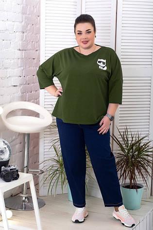 Джемпер для повних жінок стильний кольору хакі, фото 2