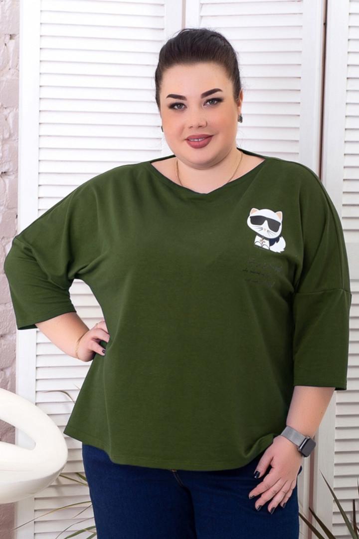 Джемпер для полных женщин стильный цвета хаки