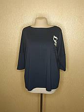 Батальна кофточка жіноча трикотажна темно-синя, фото 3