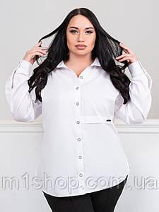 Женская белая рубашка больших размеров с принтом на спинке(Ада lzn)