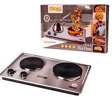 Плита настольная электрическая двухконфорочная DSP KD 4047 мощная, Кухонная электроплита 2 конфорки бытовая