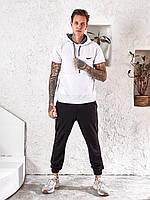Річний батник чоловічий білий з короткими рукавами Nike PO/-341330