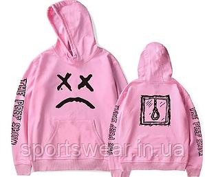 Худи Lil Peep Sad Face (No Lyrics) розовое мужское, женское, унисекс