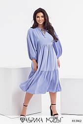 Свободное платье в больших размерах с рукавами фонариками и оборками (р. 46-56) 11524