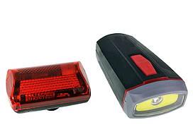 Велонабор (фонарь передний и задний) XBalog BL-808 5W COB + 5 LED черный (4260) #S/O
