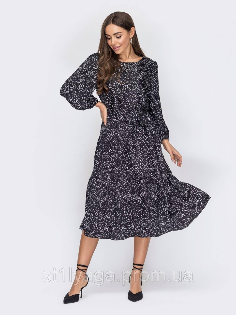 Шовкова сукня з принтом і расклешенной спідницею чорне