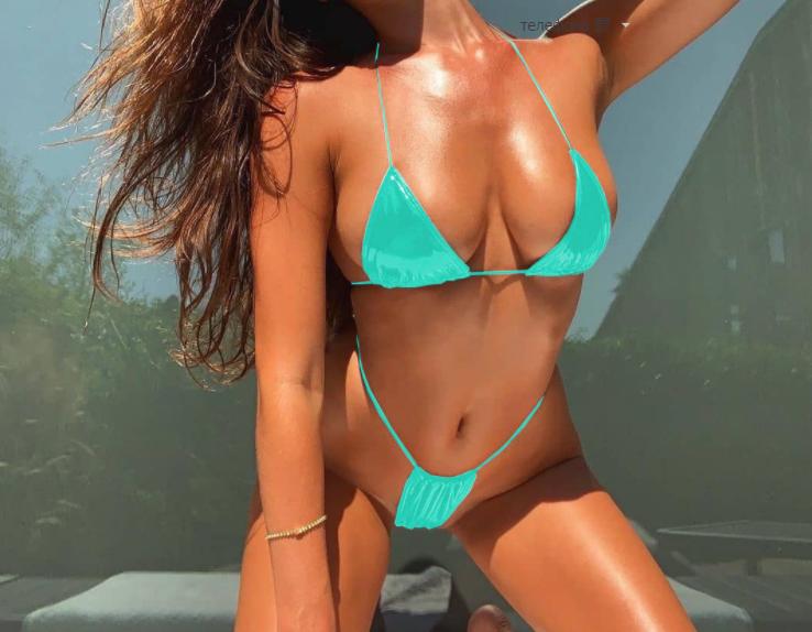 Женский раздельный модный купальник из эко кожи Summer sun blue