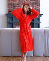 Халат женский махровый длинный Красный