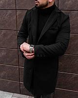 Пальто мужское демисезонное кашемировое Gang черное | Пальто двубортное весеннее осеннее ЛЮКС качества