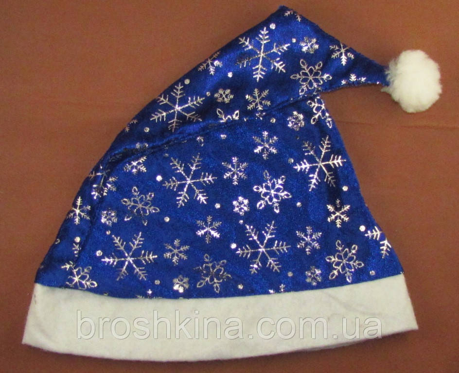 Шапка Деда Мороза со снежинками синяя 12 шт/уп